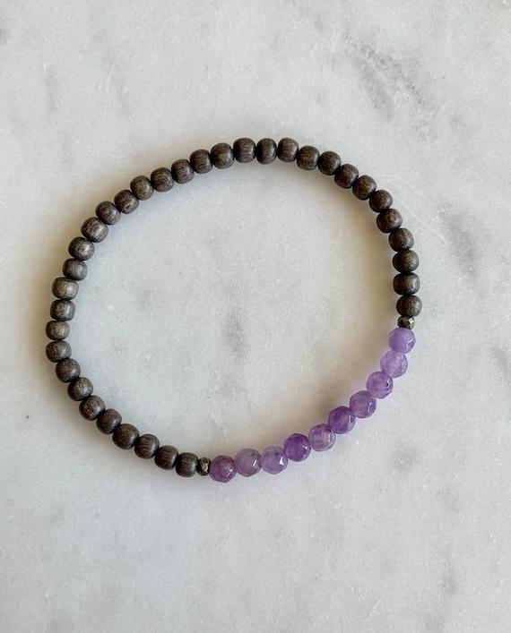 Itty Bitty Faceted AMETHYST + Pyrite Healing Bracelet w/ 4mm Gray Wood Beads// Statement Bracelet// Healing Bracelet// February Birthstone