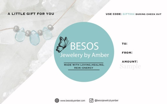 Besos Jewelry by Amber GIFT CARD// Digital Gift Certificate// Healing Jewelry// Holiday Gift Ideas// Custom Amount// Printable Gift Card