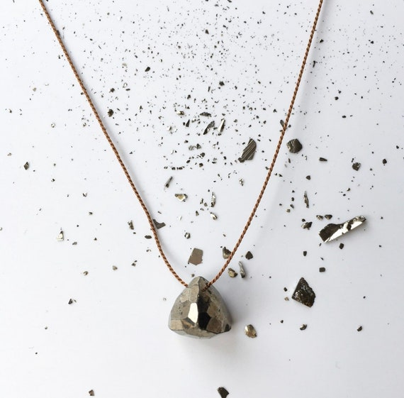 Geometric PYRITE GEM Drop Healing NECKLACE w/Faceted Pyrite Bead on Silk Cord// Layering Necklace// Healing Necklace// Delicate Jewelry