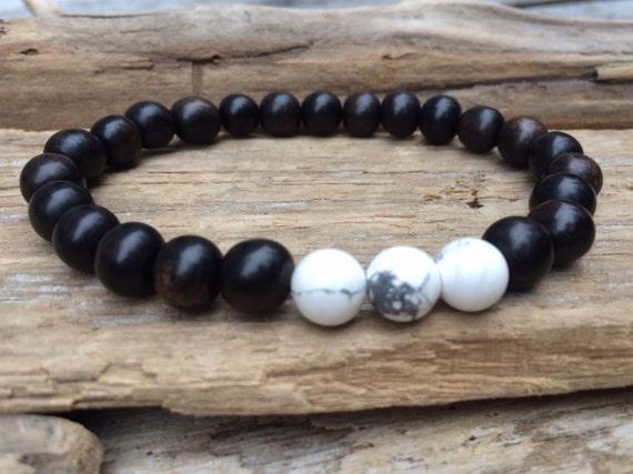 Tiger Ebony Beaded Bracelet with Polished Matte White Howlite Healing Beads// B.J.B.A.// MEN'S BRACELET// Healing Bracelet// Unisex