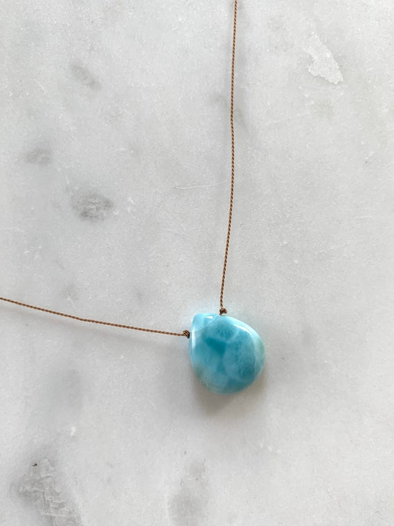 LARIMAR GEM Drop HEALING Necklace w/Polished Drop Bead on Nylon Cord/Layering Necklace/ Healing Necklace/ Goddess Jewelry/ Larimar/ Calming