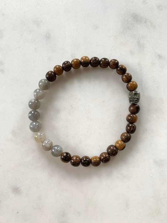 Pyrite SKULL + LABRADORITE Healing Beads on Beaded Wood Bracelet// Healing Bracelet/ Day of the Dead// Dia De Los Muertos/ Protection