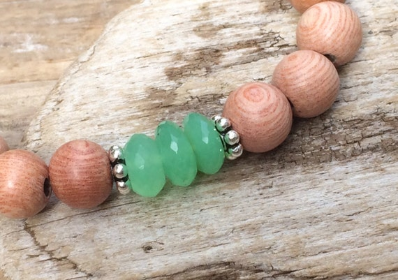Rose Wood Beaded Bracelet with BEAUTIFUL Faceted Chrysoprase Healing Beads and Sterling Silver Beads// Statement Bracelet// Healing Bracelet