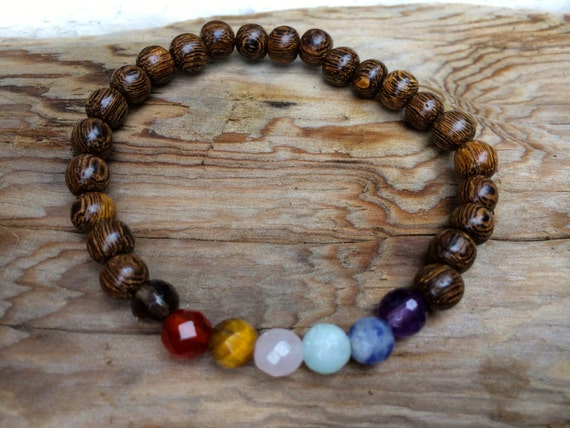 Robles Wood Beaded Chakra Bracelet with Genuine Healing Crystal Beads// Stacking Bracelet// Healing Bracelet// Unisex Bracelet