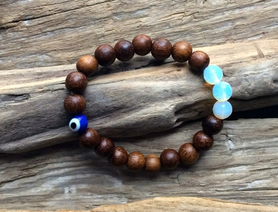 Wooden Beaded Bracelet with BEAUTIFUL Faceted Opalite Beads and Protective Glass Evil Bead// Statement Bracelet