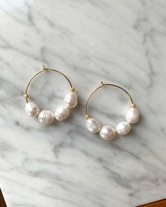 PEARL w/ Gold Vermeil Stardust Beads + Gold Plated Hoop Earrings/ Hoops/ Trendy Hoops// Beaded Earrings/ Nautical// JUNE Birthstone