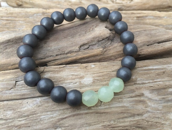 Frosted Hematite Beaded Bracelet w/ Faceted JADE Healing Beads// B.J.B.A.// MEN'S BRACELET// Healing Bracelet// Unisex Bracelet// Good Luck