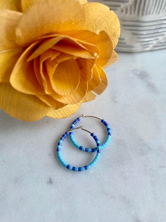 Egyptian Blue + Teal Glass Beaded Sterling Silver HOOP Earrings// Earrings// Hoop Earrings// Trendy Hoops// Beaded Earrings// SUMMER Style