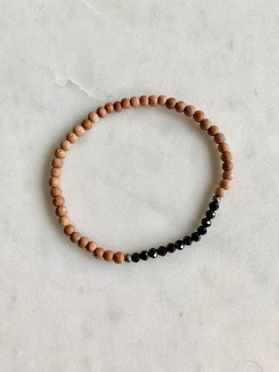 Itty Bitty Faceted BLACK SPINEL & Pyrite Healing Bracelet w/ Rose Wood Beads// Stacking Bracelet// Healing Bracelet// Statement Bracelet