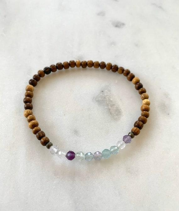 Itty Bitty Faceted FLUORITE +Pyrite Healing Bracelet w/Robles Wood Beads/ Statement Bracelet/ Healing Bracelet// Chakra Balancing// Fluorite
