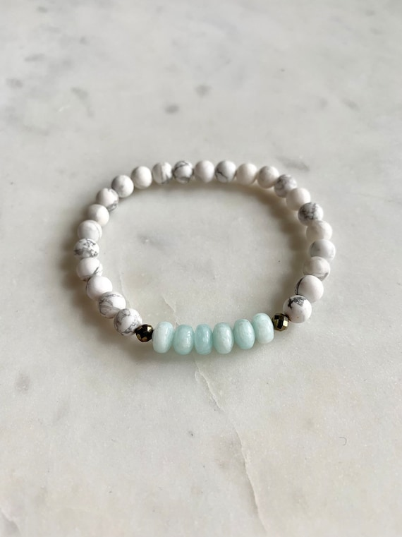 Frosted White Howlite Beaded Bracelet w/ Polished AMAZONITE + Faceted PYRITE Healing Beads// Statement Bracelet/Healing Bracelet// Amazonite