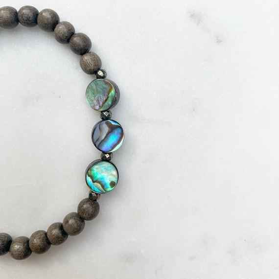 Itty Bitty ABALONE + Pyrite Healing Bracelet Ebony Wood Beads/ Statement Bracelet/ Healing Bracelet/ Nautical/ Summer Style/ Paua Shell