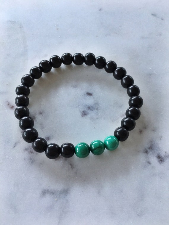 Hand Polished MALACHITE Healing Bracelet w/ Tiger Ebony Wood Beaded Bracelet// B.J.B.A.// MEN'S BRACELET/ Healing Bracelet// Unisex Bracelet