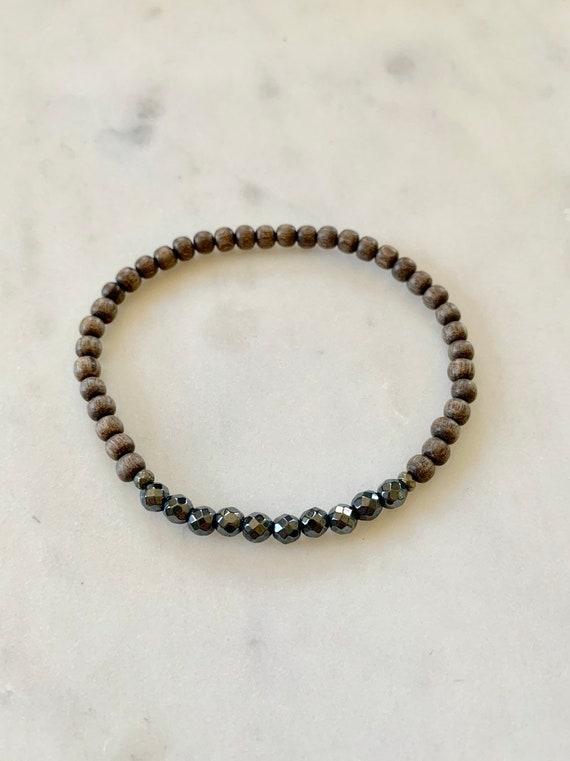 Itty Bitty Faceted HEMATITE + Pyrite Healing Bracelet w/Gray Wood Beads// Statement Bracelet// Healing Bracelet// Root Chakra// Hematite