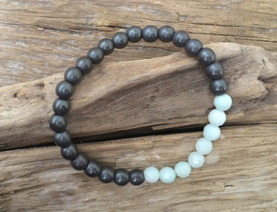 Frosted Hematite Beaded Bracelet with Faceted Amazonite Healing Beads// Stacking Bracelet// Statement Bracelet// Healing Bracelet