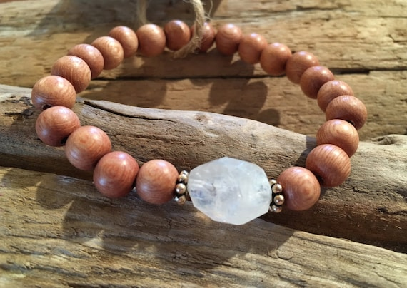 Rose Wood Beaded Bracelet with Faceted Healing RAINBOW MOONSTONE Beads + Sterling Silver Accent Beads// JUNE Birthstone Bracelet