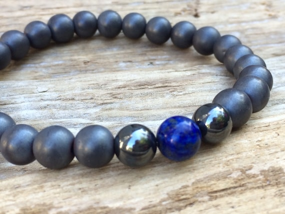 Frosted/Polished Hematite Beaded Bracelet with Polished Lapis Healing Beads// B.J.B.A.// MEN'S BRACELET// Healing Bracelet// Unisex Bracelet