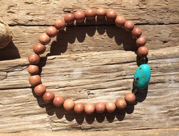 Rose Wood Beaded Bracelet with Large Turquoise Bead and Faceted Smokey Quartz Healing Beads// Stacking Bracelet// Statement Bracelet
