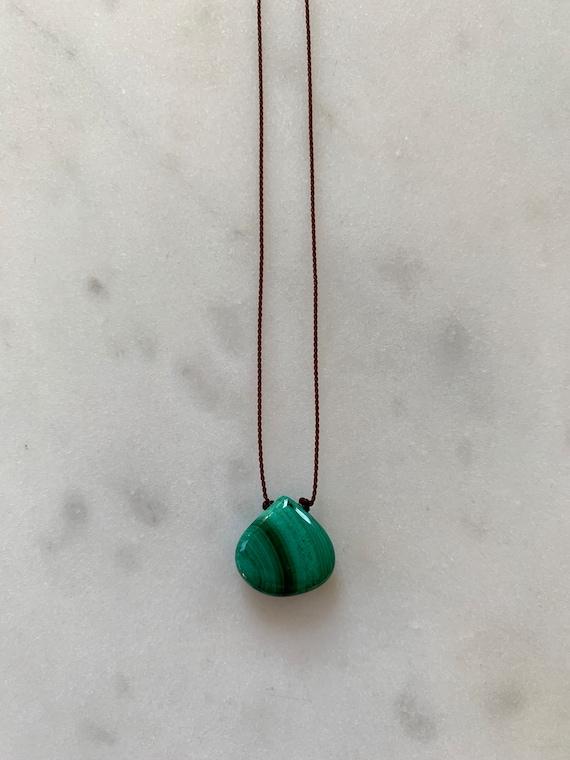MALACHITE GEM Drop Healing NECKLACE w/ Polished Drop Bead on Nylon Cord// Layering Necklace/ Healing Necklace/ Heart Chakra// Malachite