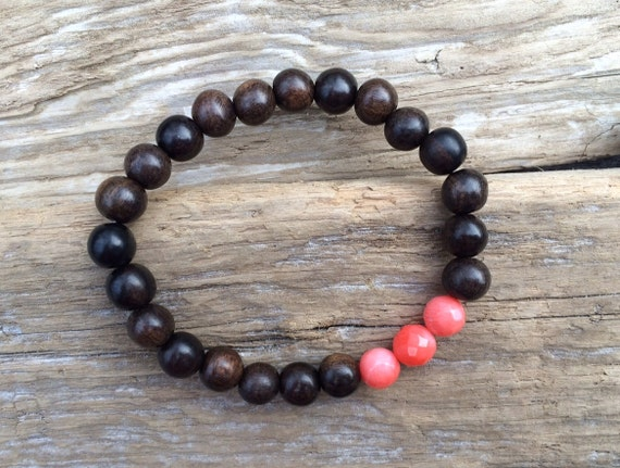 Faceted PINK CORAL Healing Bead w/ Tiger Ebony Wood// Beaded Bracelets// Stacking Bracelet// Nautical Bracelet// Statement Bracelet// Coral