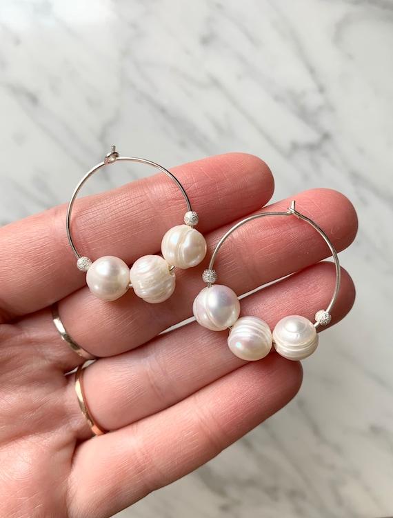 PEARL w/ Sterling Stardust Beads + Silver Hoop Earrings/ Hoops/ Trendy Hoops// Beaded Earrings/ Nautical// JUNE Birthstone