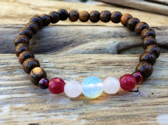 LOVE ~Positive Mantra Bracelet~ Robles Wood Bracelet with a Mix of Semi-Precious Healing Crystals (Garnet, Opalite, and Rose Quartz)