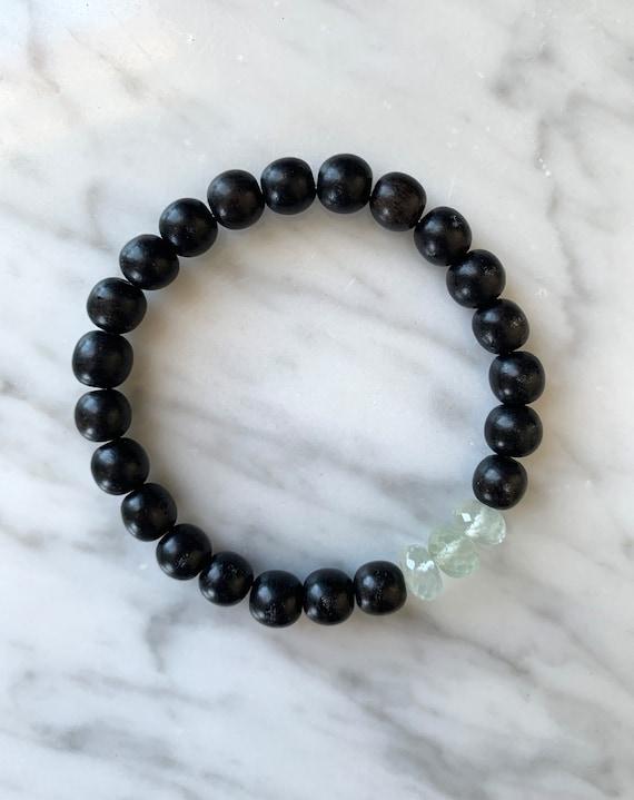 Beautiful Faceted PREHNITE Healing Beads w/Ebony Wood Beaded Bracelet// Healing Bracelet// Stacking Bracelet/ Quality Prehnite// Heart Stone