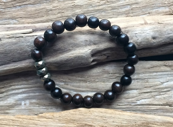 Tiger Ebony Wood Beaded Bracelet with Faceted Healing Pyrite Beads// Statement Bracelet// Stacking Bracelet// Healing Bracelet