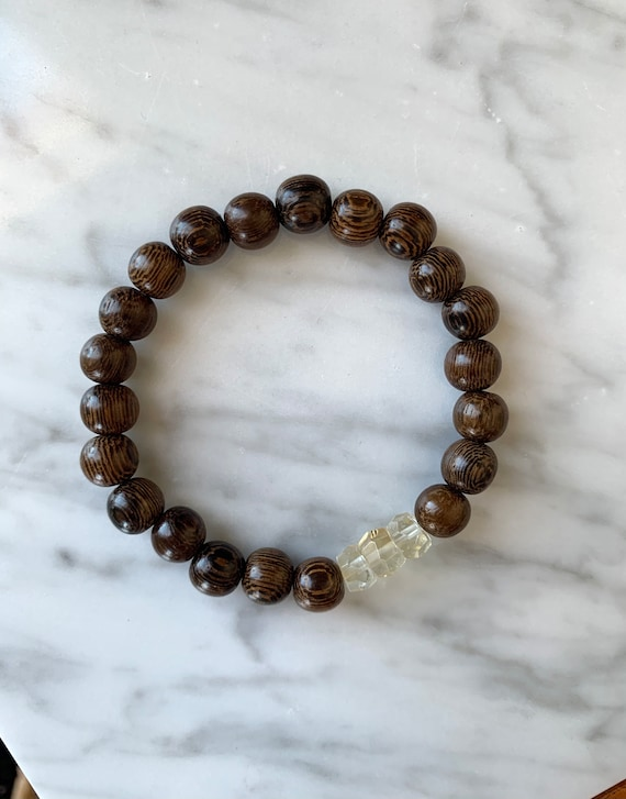 Beautiful Faceted CITRINE Healing Beads w/Robles Wood Beaded Bracelet// Healing Bracelet// Stacking Bracelet// NOVEMBER Birthstone// Clarity