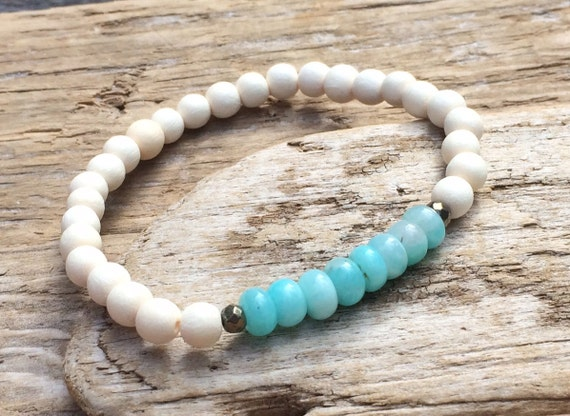 White Wood Beaded Bracelet with Amazonite and Faceted Pyrite Healing Beads// Stacking Bracelet// Healing Bracelet// Statement Bracelet