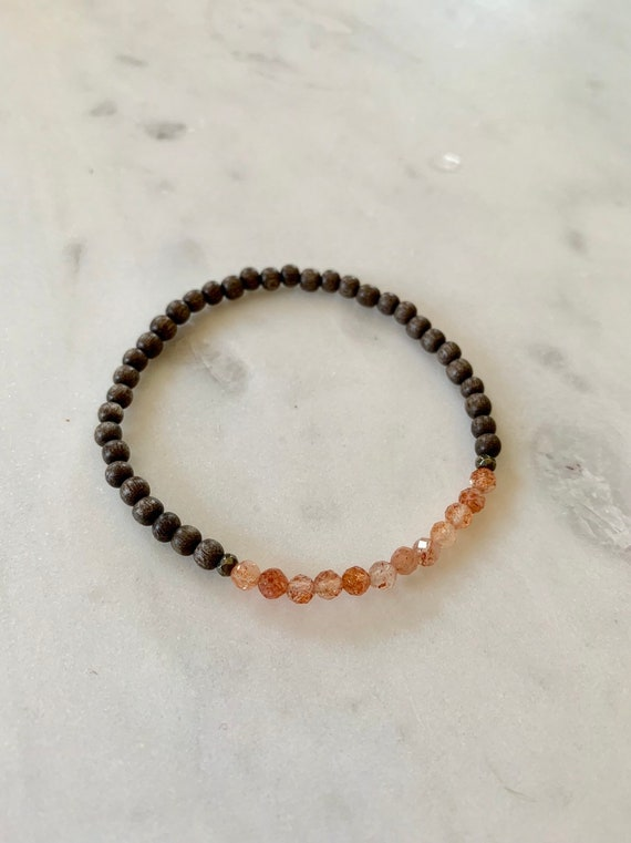 Excellent Quality Faceted SUNSTONE + PYRITE Healing Bracelet w/ 4mm Gray Wood/ Statement Bracelet/ Healing Bracelet// Stacking Bracelet