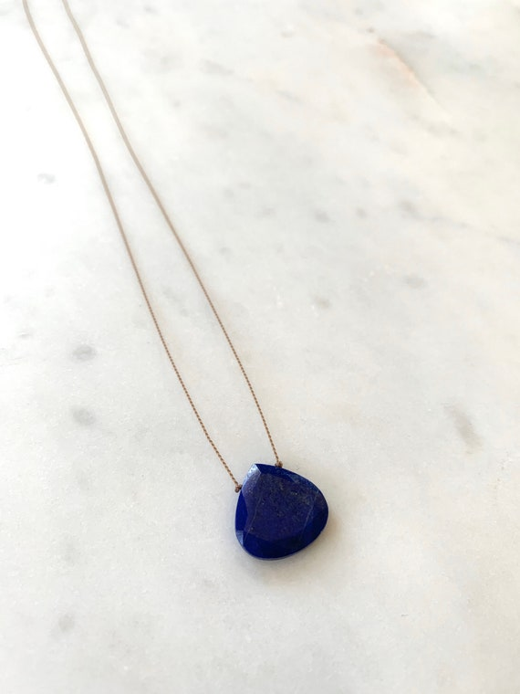 LAPIS LAZULI Gem Drop Healing NECKLACE w/Faceted Briolette Bead on Nylon Cord w/Sterling Clasp/ Layering Necklace/ Healing Necklace/ Lapis