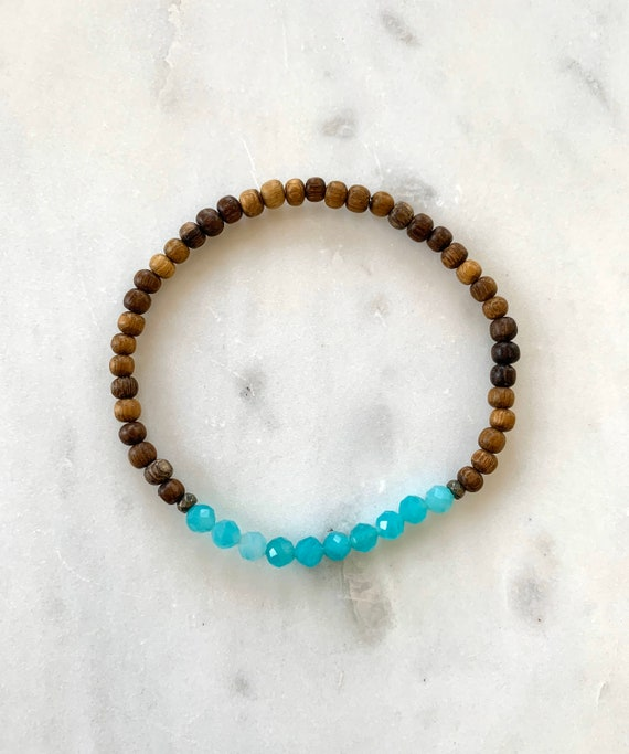Itty Bitty Faceted AMAZONITE + Pyrite Healing Bracelet w/ Robles Wood Beads/ Statement Bracelet/ Healing Bracelet// Stress + ANXIETY Relief