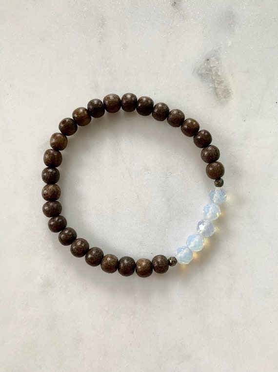Beautiful Faceted OPALITE + Pyrite HEALING Beads w/ Gray Wood Beaded BRACELET/ Stacking// Statement Bracelet/ Healing// Sea Opal Jewelry