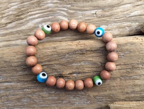 Rose Wood Beaded Bracelet with Protective Glass Evil Eye Beads// Statement Bracelet// Protection// Stacking Bracelet (Unisex)