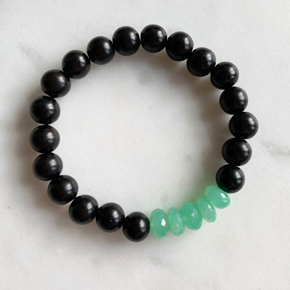 Beautiful Faceted CHRYSOPRASE Healing Beads w/Tiger Ebony Wood Beaded Bracelet// Stacking Bracelet// Statement Bracelet// Healing// Chakra