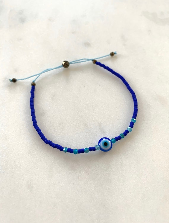 GODDESS Collection> EVIL EYE + Blue Apatite Healing Beads w/Matte Royal Blue Glass Beads/ Adjustable Nylon Bracelet/Layering/ Pop of Color