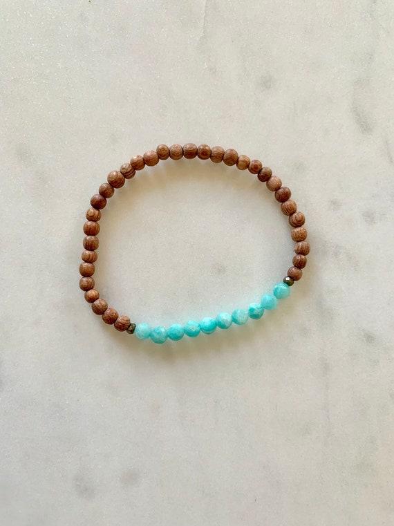 Itty Bitty Faceted AMAZONITE + Pyrite Healing Bracelet w/ Rose Wood Beads/ Statement Bracelet/ Healing Bracelet// Heart Chakra// Amazonite