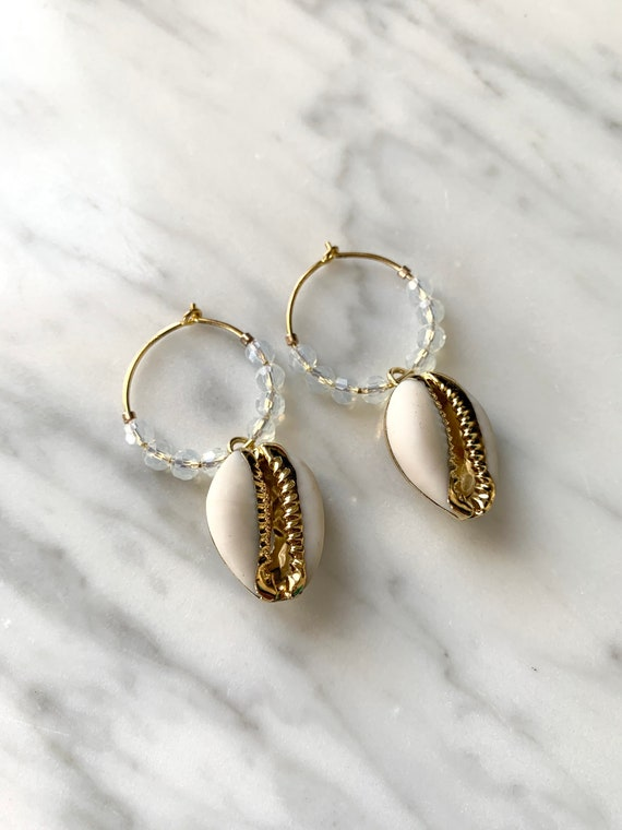 Beautiful GOLD-Dipped Goddess COWRIE Shell+ OPALITE Hoop Earrings/ Earrings/ Shell Earrings/ Seashell Jewelry/ Nautical Jewelry/ Cowry Shell