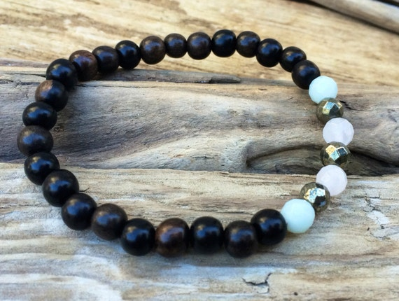 STRESS/ANXIETY RELIEF ~Positive Mantra Bracelet~ Wooden Bracelet w/ Semi-Precious Healing Stones <<Amazonite, Pyrite, and Rose Quartz>>