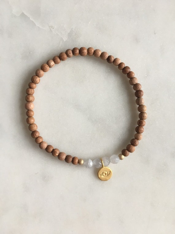 Stunner Collection> Blue Lace AGATE Healing Beads + Gold Vermeil EVIL EYE Charm w/ Rose Wood Beads// Healing Bracelet// Charm Bracelet//