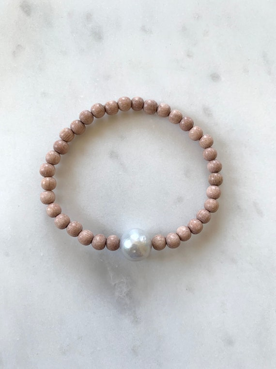 Beautiful Fresh Water PEARL Healing Beads w/ Rose Wood Beaded Bracelet// Statement Bracelet// Birthstone Jewelry// JUNE Birthstone// Pearls