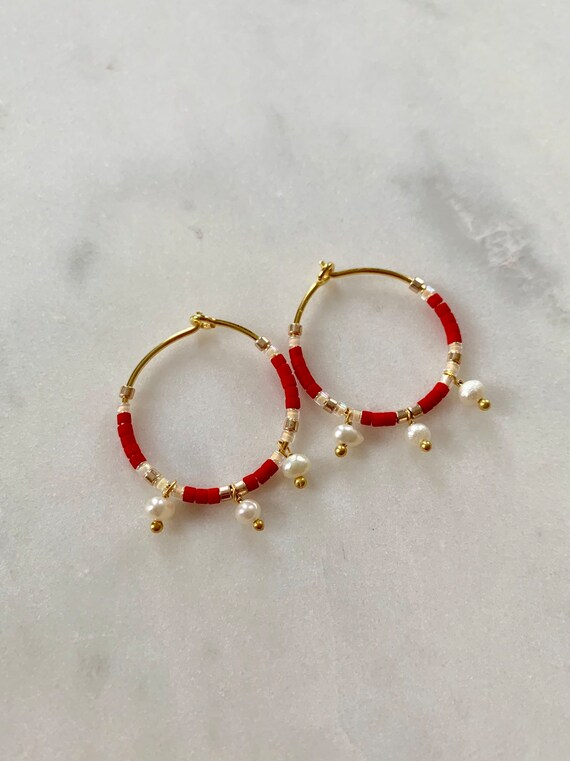 HOLIDAY Ready Red + Gold Glass Beaded + Dangle PEARL Gold Vermeil Sterling Silver HOOP Earrings Hoop Earrings/ Trendy Hoops/ Beaded Earrings