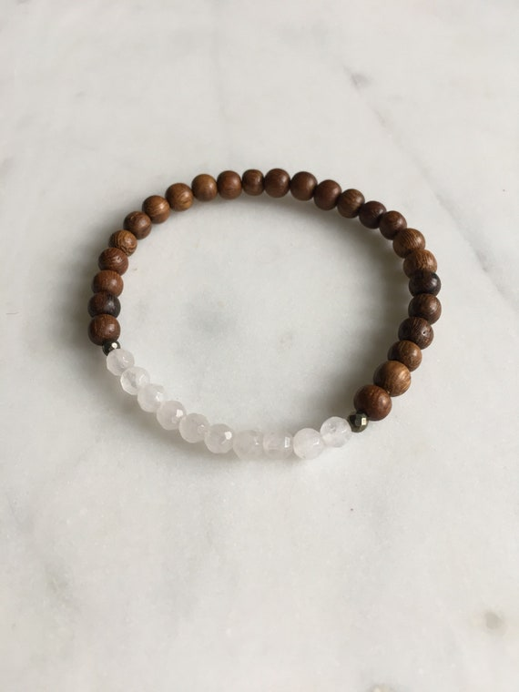 Itty Bitty Faceted ROSE QUARTZ + Pyrite Healing Bracelet w/ 4mm Robles Wood Beads/ Statement Bracelet/ Healing Bracelet// Stacking Bracelet