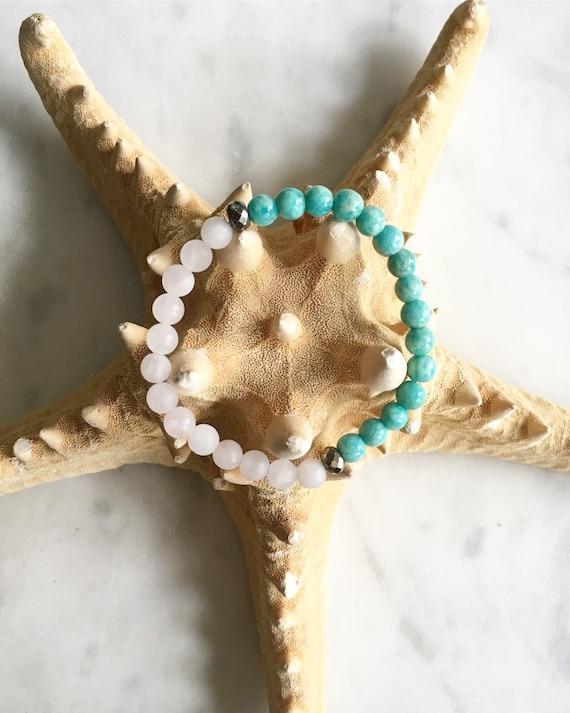 STRESS/ANXIETY RELIEF ~Positive Mantra Bracelet~ Statement Bracelet w/ Semi-Precious Healing Stones <<Amazonite, Pyrite, and Rose Quartz>>
