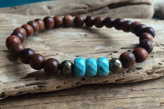 Tiger Ebony Wood Beaded Bracelet with Faceted Blue Howlite and Pyrite Healing Beads// Stacking Bracelet// Statement Bracelet