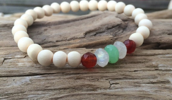FERTILITY ~Positive Mantra Bracelet~ Wooden Bracelet with a Mix of Semi-Precious Stones (Carnelian, Chrysoprase, and Rainbow Moonstone)