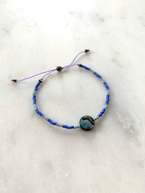 GODDESS Collection> ABALONE Shell Healing Beads w/Matte Royal Blue+ Turquoise Glass Beads/ Adjustable Nylon Bracelet/ Layering/ Pop of Color