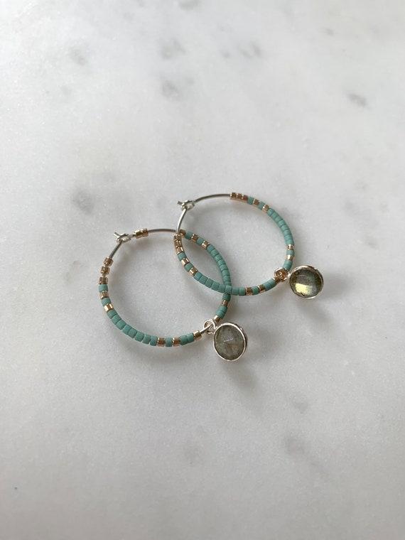 Teal+ Gold Glass Beaded+ Dangle LABRADORITE Sterling Silver HOOP Earrings/ Earrings/ Hoop Earrings/ Beaded Earrings/ Labradorite Jewelry