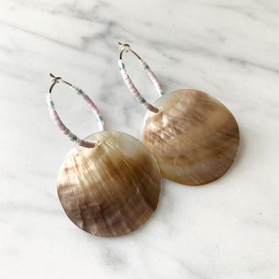 Pink + Teal Glass Beaded + Dangle Mother of PEARL Sterling Silver HOOP Earrings/ Earrings/ Hoop Earrings/ Beaded Earrings/ Nautical Jewelry